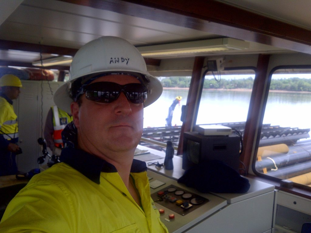 Andy on board dredger in West Africa doing site inspection