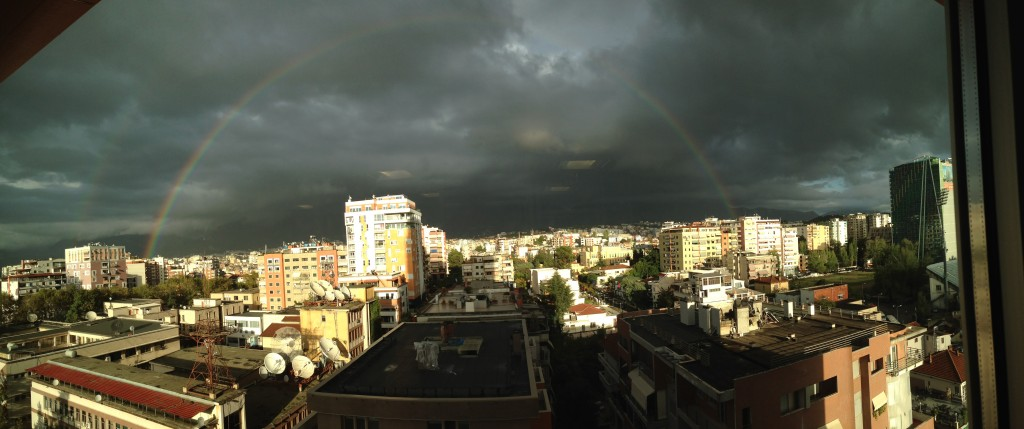 Beautiful rainbow over Tirana
