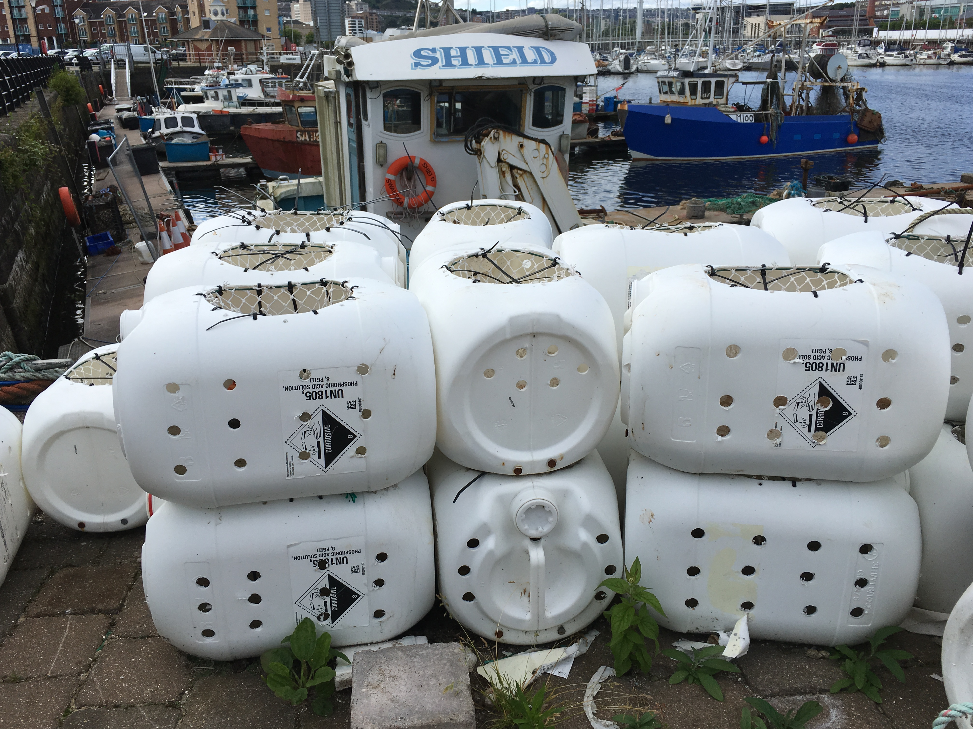Whelk pots from recycled plastic chemical containers