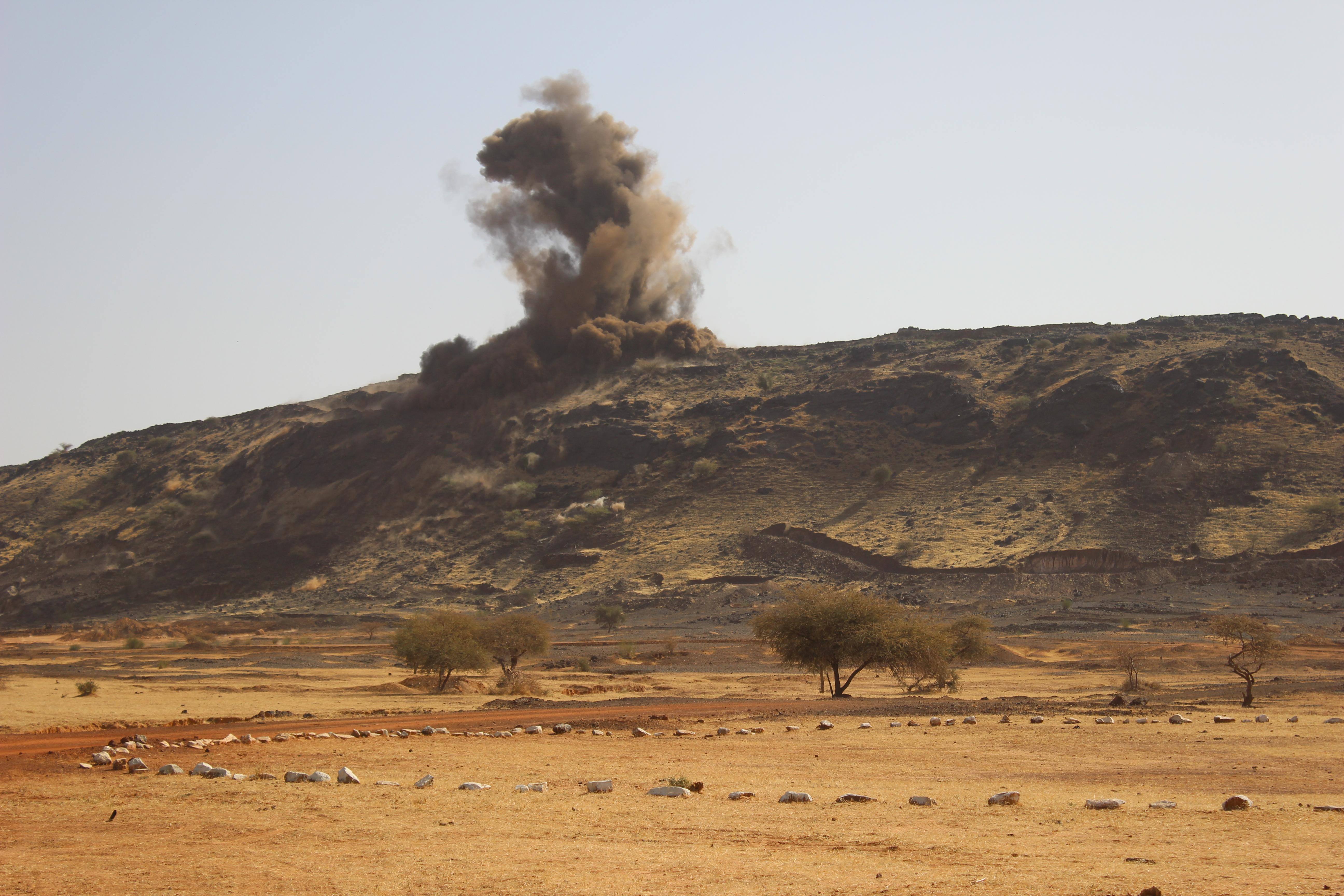 Test blast in manganese mining