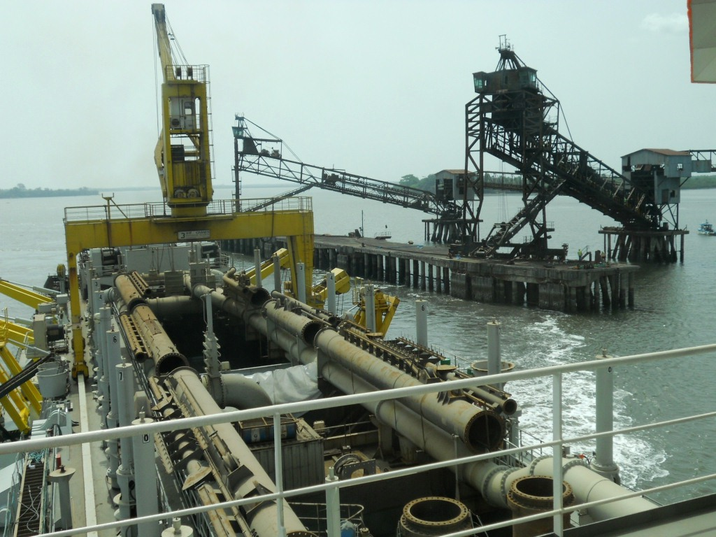 Dredging ship loading in port